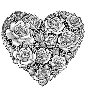 Free printable colouring pages - Heart of Roses