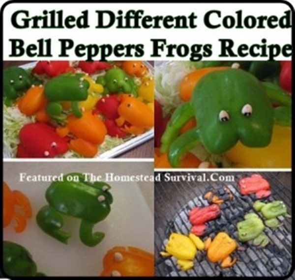 Grilled Bell Pepper frogs recipe is made with carefully cut different colored Bell Peppers (yellow, orange, red and green) into the shape of frogs that is