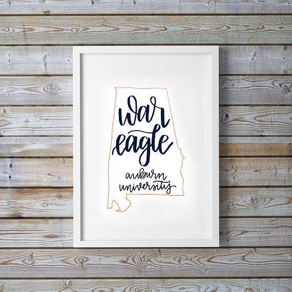 War Eagle Auburn University Alabama Navy Orange Printable Art Instant Download Handwritten Calligraphy Lettering College Dorm Room Decor Print