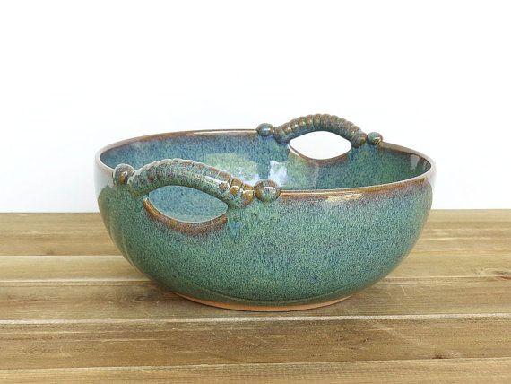 Sea Mist Stoneware Pottery Ceramic Serving Bowl by dorothydomingo