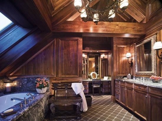 luxury cabin bathrooms bathroom in a luxury chalet in vail dreams come true pinterest. Black Bedroom Furniture Sets. Home Design Ideas