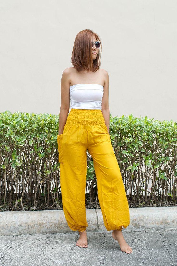 High Waist Thai Harem Pants Solid Color Bumble Bee