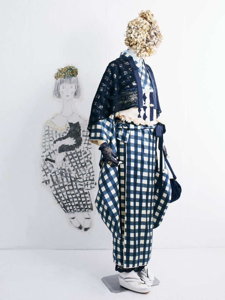 DOUBLE MAISON | Furisode Do~uburu check