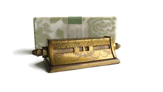 Perpetual Calendar Desk : Perpetual calendar brass vintage desk accessory