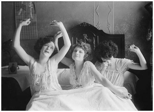 Three girlfriends in their lingerie.