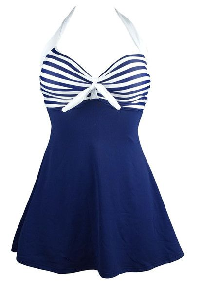 Retro Vintage Vibe Nautical Skirted Swimsuit