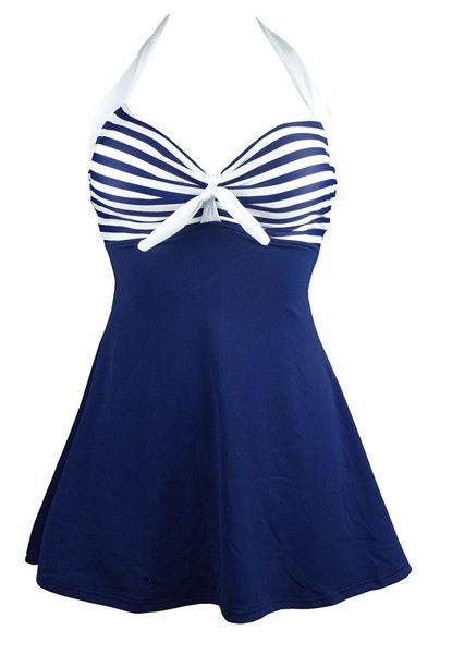Retro Vintage Vibe Nautical Skirted Swimsuit