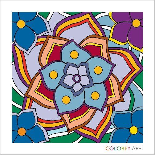 Blue purple yellow flower art