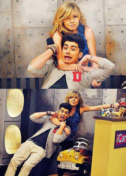 iCarly's famous Sam Puckett (a.k.a  Jennette McCurdy) dragging off the 1/5 of the most hottest guys on earth. (Obviously the others are the other 4/5 of One Direction) I'm kinda surprised that she didn't drag off the others.