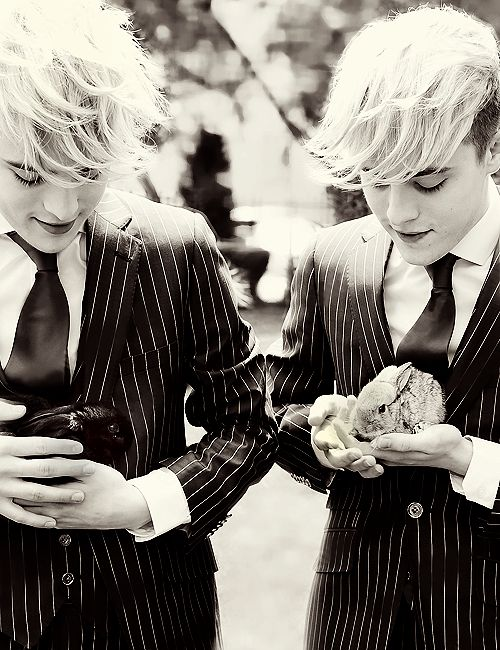 John and Edward with the baby bunnies Euro and Vision that they bought in Baku. :')