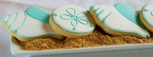 seashell cookies!  Love these if we do the luau theme for S' first birthday