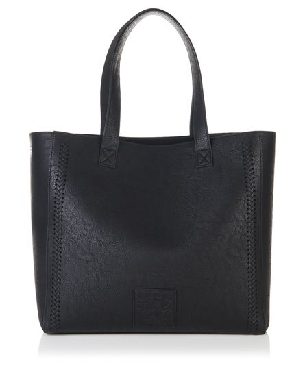 #superdry Superdry women's cross stitch Elaina tote bag. A classic shape tote bag with a subtle twist featuring cross stitch detail. The tote bag has a handy removable liner bag, which is complete with zip fastening, two poppers to secure it to the main bag and a single zipped compartment. The main bag has a small inner slip compartment. The cross stitch Elaina tote bag is complete with a metal Superdry logo tab and a 'Fine Goods' Superdry logo patch. Approximate capacity 13.5 litres H 37cm…