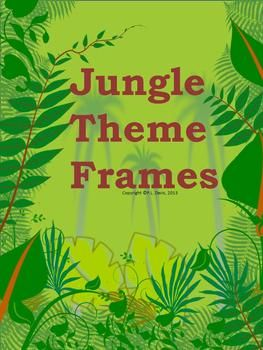 $3 not grade specific Looking for a jungle theme design? This 12-page package contains 10 non-editable frames using six jungle them designs. Most frames come with two different colored backgrounds. They are non-transparent. These frames include jungle foliage, monkeys, and prints of various wild animals including tigers, zebras, leopards and giraffes. Re-pin to remember!!!
