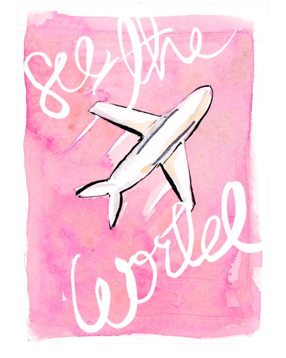 Travel Art Print: See the World in Pink by AThingCreated on Etsy