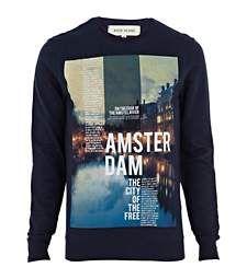 Navy Amsterdam print sweatshirt £28.00