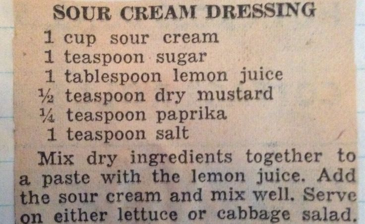 Sour Cream Dressing from various collected recipes of the 1930s through 1950s