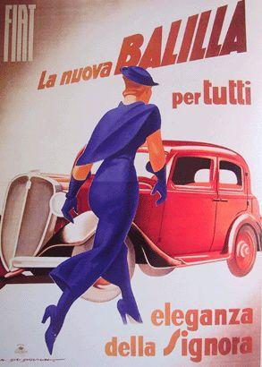"""Marcello Dudovich 1934_FIAT """" la nuova Balilla per tutti, eleganza della Signora. """"_Collezione privata PL, Zoagli     www.tommyholiday.it"""