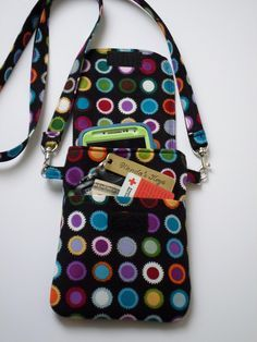 Dots on Black Cell Phone Purse Cross Body Shoulder Bag Pouch Case / Colorful Dots / iPhone 5 and 6 Plus, Samsung Galaxy s4, s5, & more - pinned by pin4etsy.com