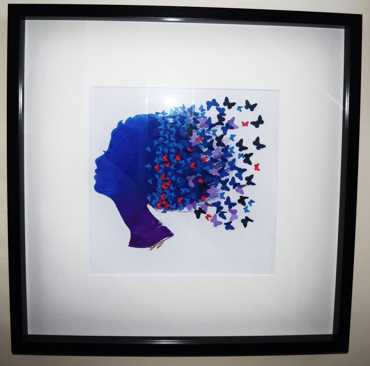 Butterhair. Framed 50x50 Purple Blue Turquoise Silhouette Watercolour Painting of a Lady with 3D Butterflies flying. Modern Decor Art by CornishMaidCrafts on Etsy