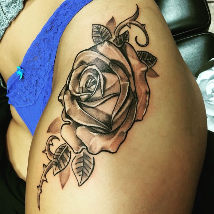 New Side Thigh Rose Tattoo☺️