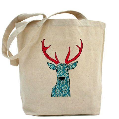 Cotton tote bag, Wholesale tote bag, Ecobag, personalized tote, natural color tote bag, Deer tote, friendly eco bag - Deer art