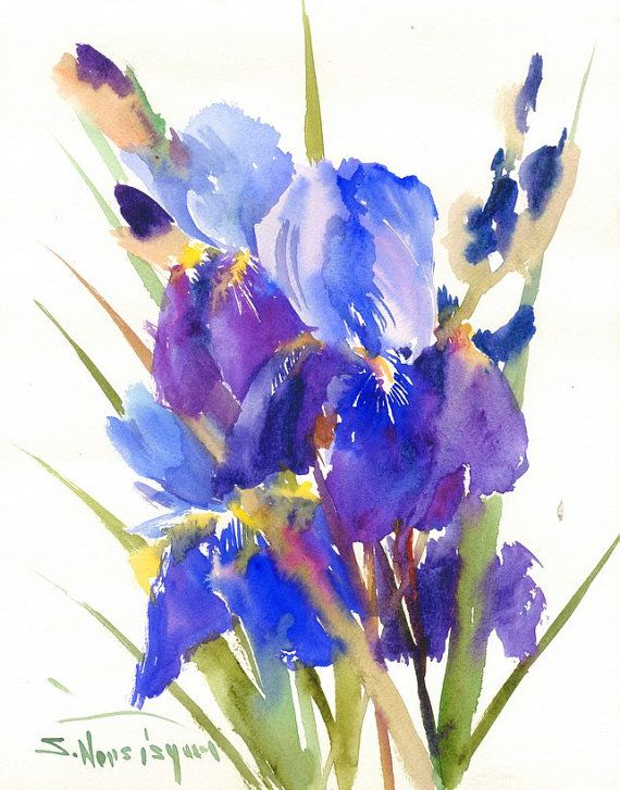 Hey, I found this really awesome Etsy listing at https://www.etsy.com/listing/216200724/purple-blue-irises-original-watercolor