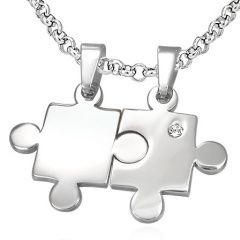 Partnerské puzzle s kamínkem - krásný šperk pro pár!
