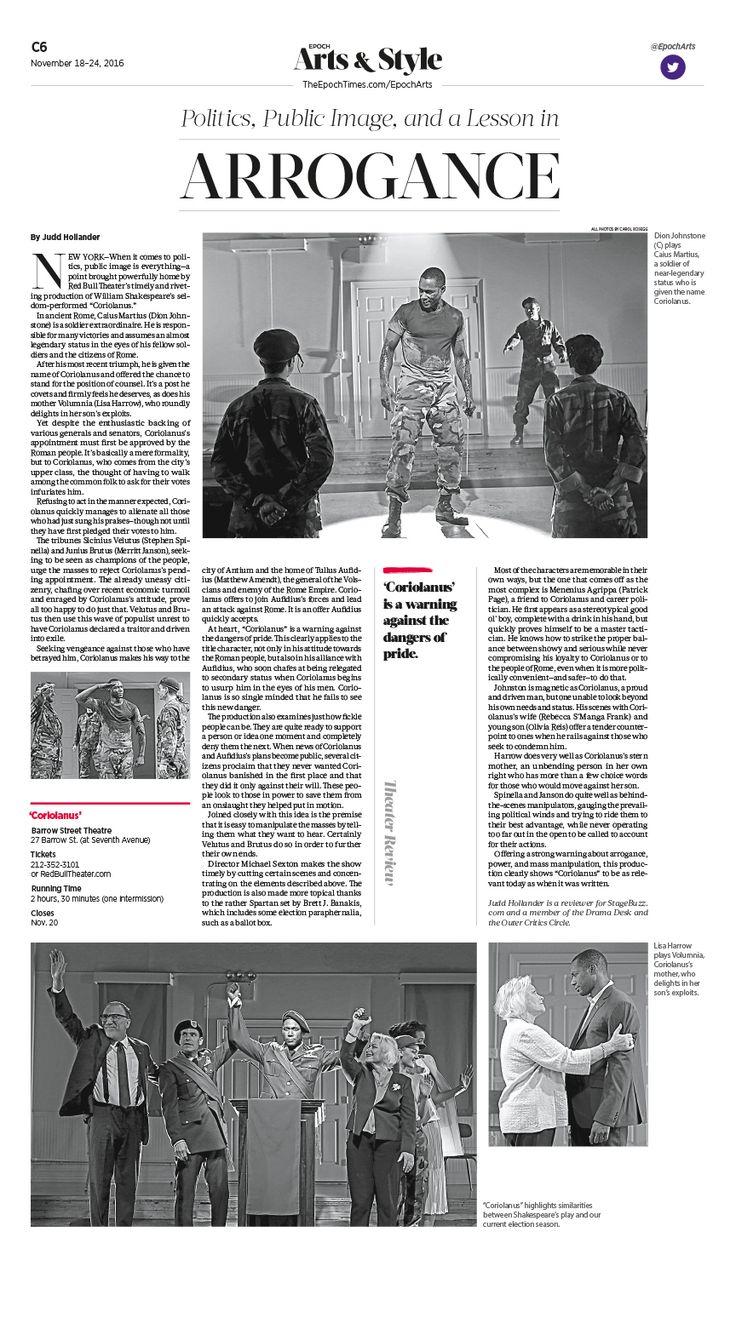 Politics, Public Image, and a Lesson in Arrogance|Epoch Times #Arts #newspaper #editorialdesign