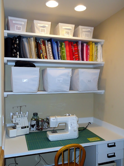 Crafty sewing closet. Less fabric and more yarn stash and I'm sold!