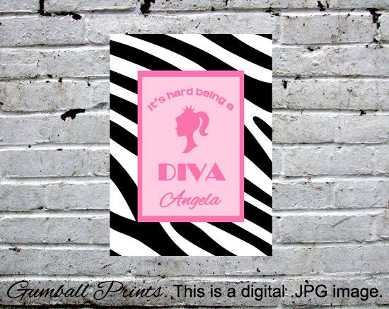 "Diva or Princess sign. Cute for girls room, gift, or party favor. We personalize this digital .JPEG file, 8x10"". You print."