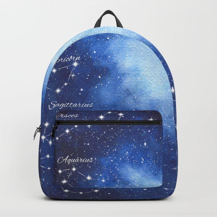 Cosmic Horoscope Backpack #space #zodiac #signs #horoscope #universe #galaxy #nebula #stars #constellations #watercolor #painting #night #buy #buyonline #shopping #giftidea #present #cosmic #cosmos #society6 #backpacks #backtoschool