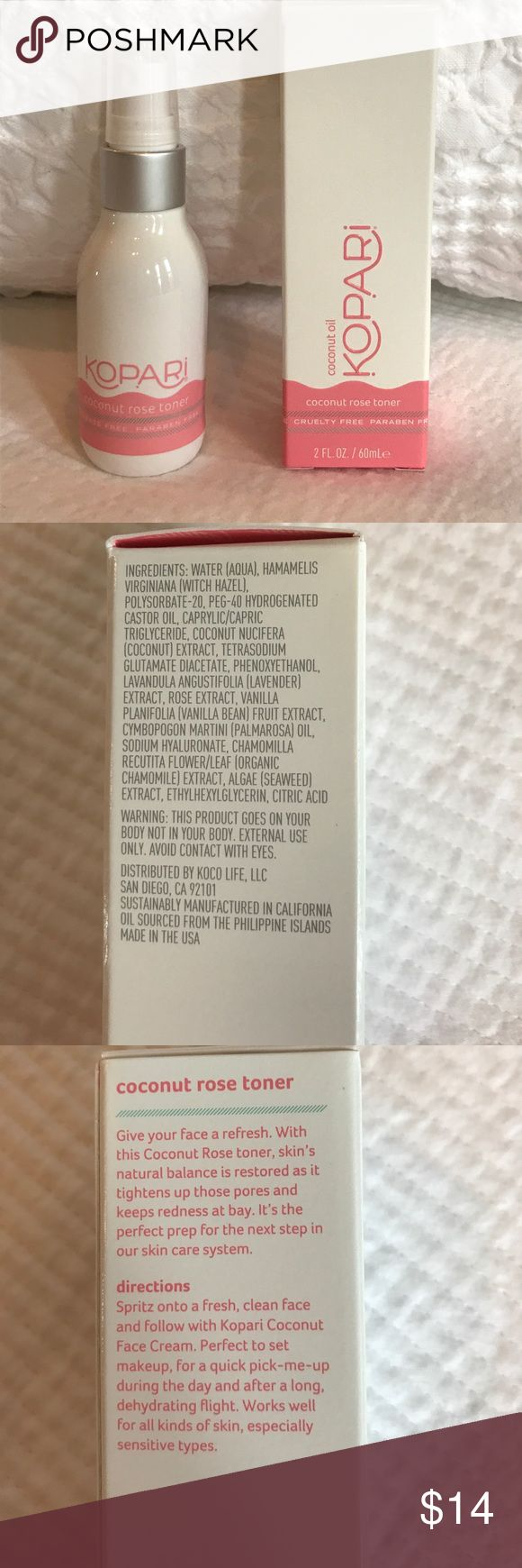 NEW 🌴🌹KOPARI COCONUT ROSE TONER BRAND NEW TRAVEL SIZE 2 FL.OZ. PRICE FIRM UNLESS BUNDLED . NO OFFERS ON BUNDLES PLEASE. 🌴 🌹coconut refreshing rose toner, skin's natural pH balance is restored as it tightens up those pores and keeps redness at bay.alcohol-free, cruelty-free, phthalate-free, non-GMO & vegan. Revitalizes and restores skin's natural balance.Reduces the appearance of pores and keeps redness at bay Formulated with Witch Hazel which calms and soothes skin without drying it out…