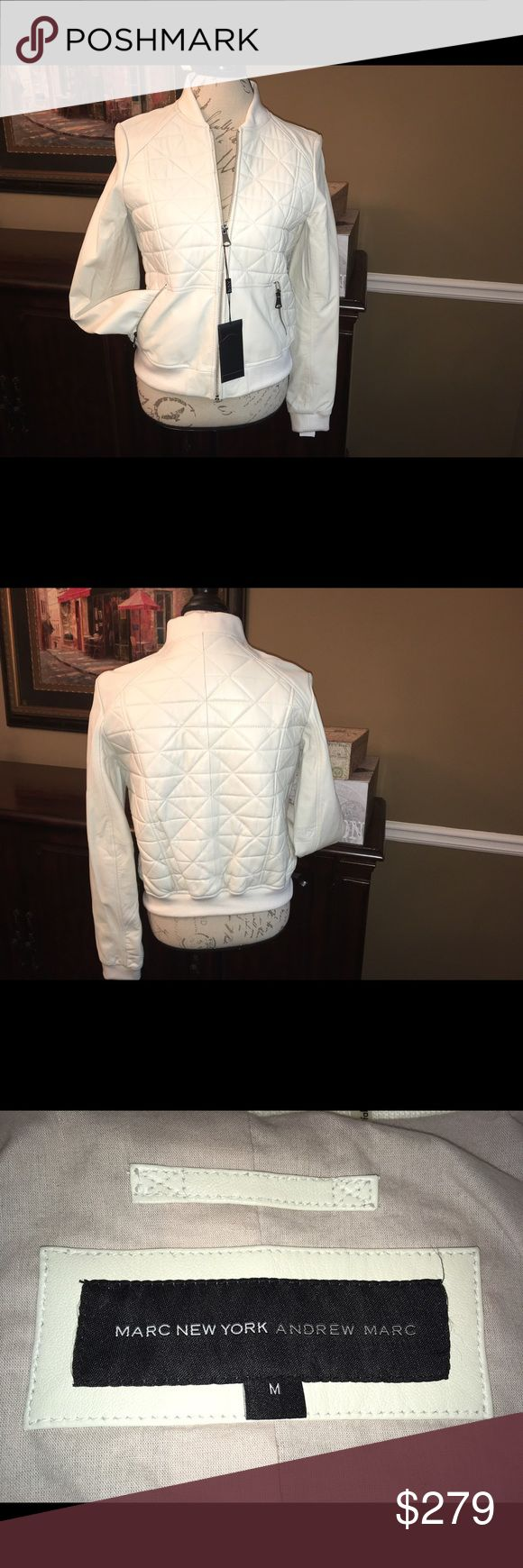 ✅Sale!✅ Marc NY Andrew Marc Leather Jacket, Medium Marc New York Andrew Marc White Leather Jacket, Medium (on sale through the weekend)  Brand new with tags!! ☺️ This is stunning white quilted leather and would be perfect with a cute pair of jeans or a skirt. Measures 23 inches from shoulder to hem. Andrew Marc Jackets & Coats