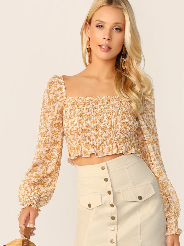 e5d66d34d8 Ditsy Floral Frill Edge Shirred Crop Top | SHEIN | :: >> Just Landed ...