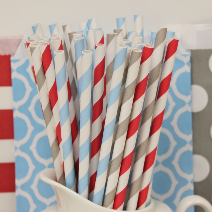 Paper Straw Winter MIx.....Red Stripes, Silver Stripes and Powder Blue Striped Paper Straws.....Snowman parties, Winter Birthday