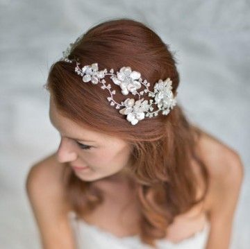 Pearl and crystal floral garland vine headpiece