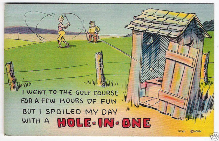 vintage outhouse golf comic linen golfing postcard vintage outhouse ...