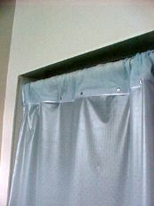 A Commercial Shower Curtain That Folds Over The Rail. Often Called A Safety Shower  Curtain