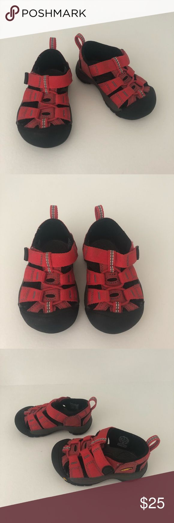 EUC Keen Baby Water Shoes Size 4 Red Excellent used condition baby / toddler size 4 keen sandals. No flaws to note, worn maybe once as they were a gift when she had grown to be a size 5. Great for spring and summer or by the pool. Comes from a smoke free, pet free home. Keen Shoes Baby & Walker