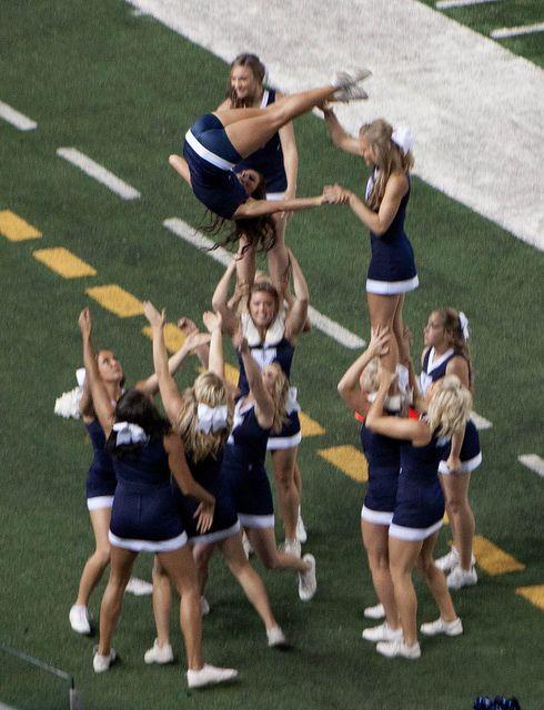 BYU CheerLeaders college cheerleading stunt routine football field game day #cheer #KyFun m.9.47 moved from Cheerleading: Collegiate board: http://www.pinterest.com/kythoni/cheerleading-collegiate/