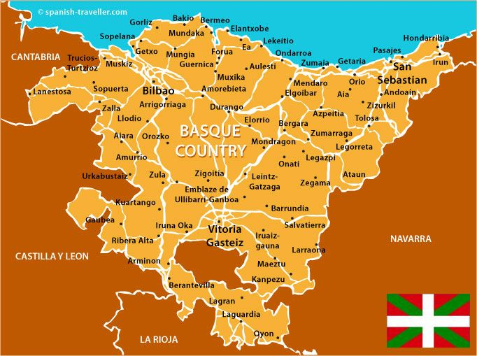 Basque Country is where Pinchos come from Major cities      Bilbao (354,145)     Vitoria-Gasteiz (226,490)     San Sebastián (183,308)     Barakaldo (100,369)     Getxo (83,000)     Irun (59,557)     Portugalete (51,066)     Santurtzi (47,320)     Basauri (45,045)     Errenteria (38,397)