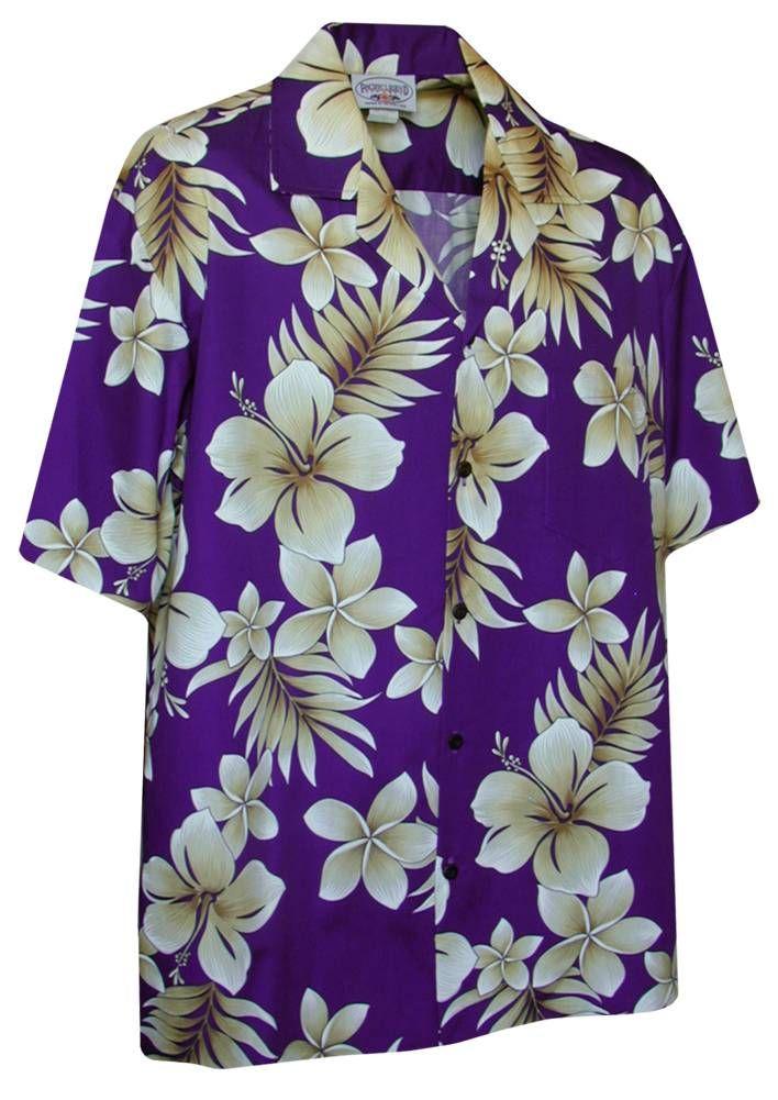 Plumeria Tropics - Mens Hawaiian Aloha Shirt - Purple, Pacific Legend, 410-3559_Purple - Paradise Clothing Company