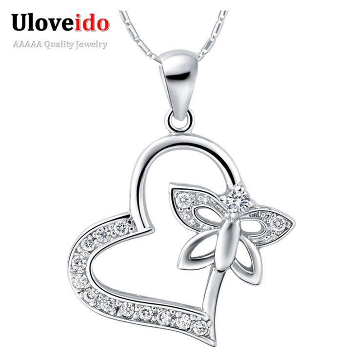 Find More Chain Necklaces Information about Heart Necklace Butterfly Colar Sterling Silver Jewelry Fashion Cute Necklaces Summer Style Chic Vintage Accessories Ulove N780,High Quality accessories luxury,China accessories bike Suppliers, Cheap accessories organizer from Ulovestore Jewelry on Aliexpress.com