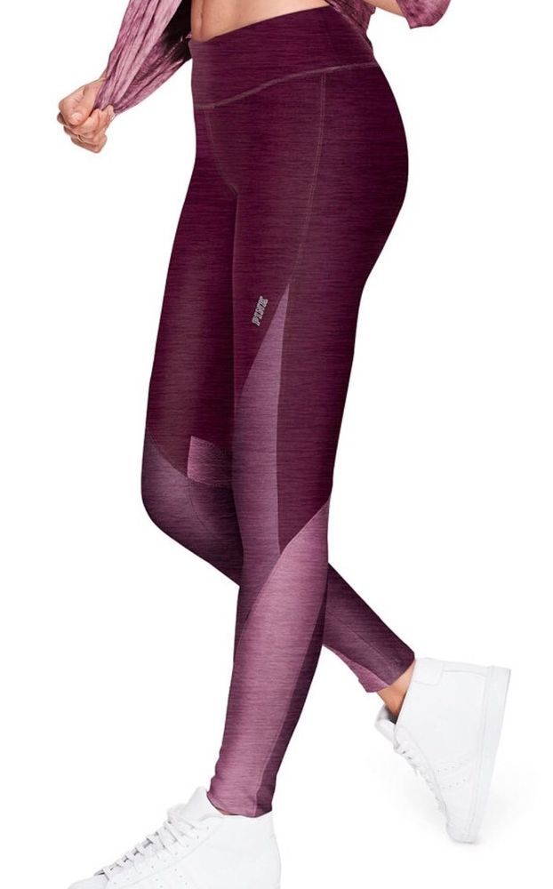 1774818c31c6b Victoria's Secret PINK Super Soft Color Block Yoga Leggings Large Black  Orchid | eBay