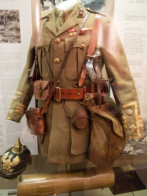 """World War I British officer's tunic and Sam Browne belt with attachments, known humorously as """"the Christmas tree."""""""
