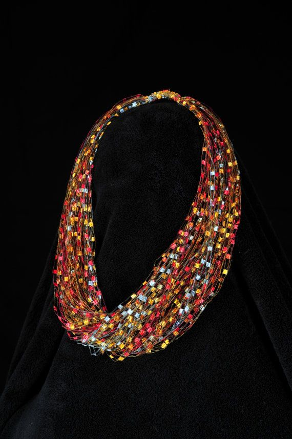 Fire and Ice Trellis Yarn Necklace/Scarf by ...