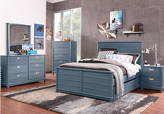 picture of Bay Street Blue 5 Pc Full Panel Bedroom  from Teen Bedroom Sets Furniture