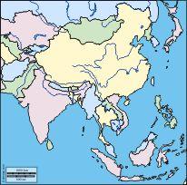 Asie de l'est et du sud: carte géographique gratuite, carte géographique muette gratuite, carte vierge gratuite, fond de carte gratuit : littoraux, hydrographie