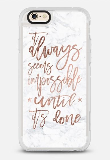 Modern rose gold typography quote awlays seems impossible until it's done white marble by Girly Trend iPhone 6 case by Girly Trend | Casetify