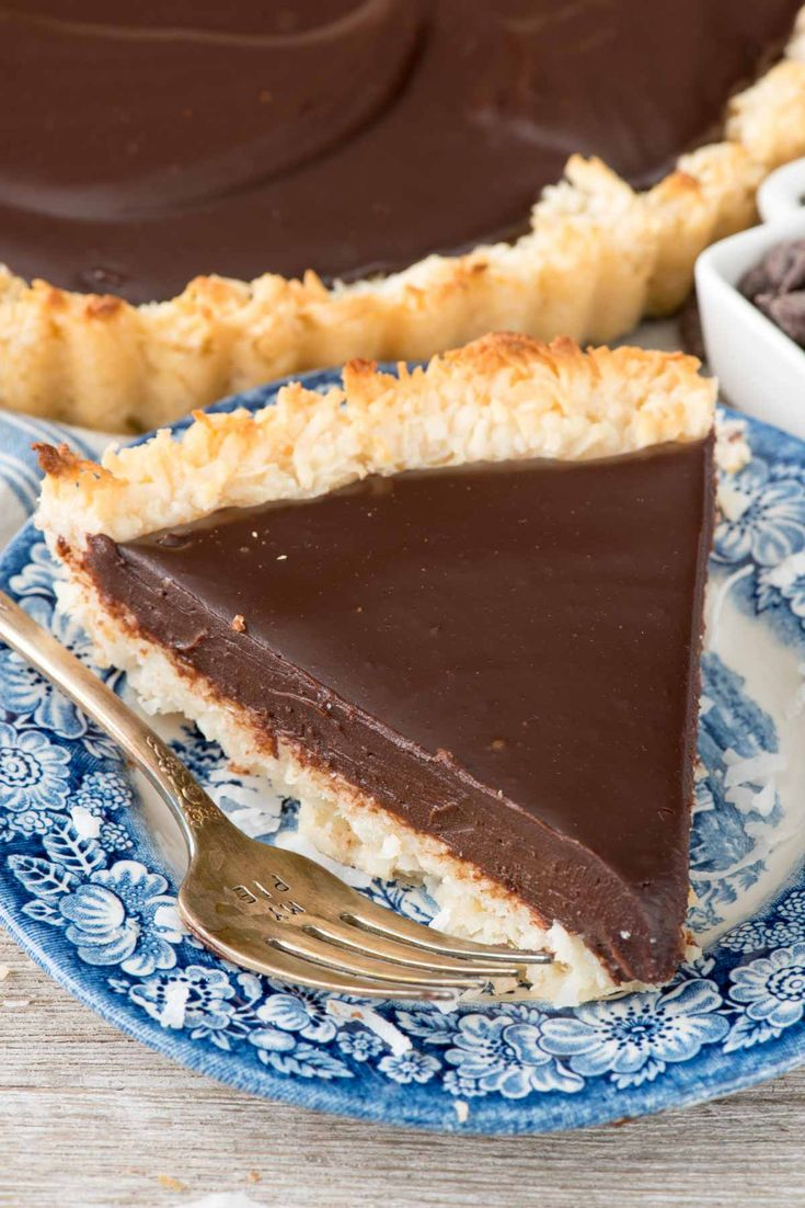 Chocolate Macaroon Pie - this easy macaroon recipe is baked into a pie crust and then filled with a rich chocolate ganache filling!